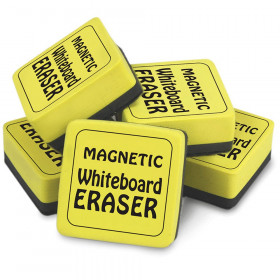 """Magnetic Whiteboard Eraser, 2"""" x 2"""", Yellow, Pack of 12"""