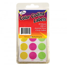 Color Coding Circle Labels, Neon, Pack of 180