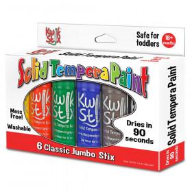 Jumbo Solid Tempera Paint Stick, 6 Classic Colors