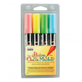 Broad Point Chalk Marker Set, Fluorescent Red, Blue, Yellow and Green