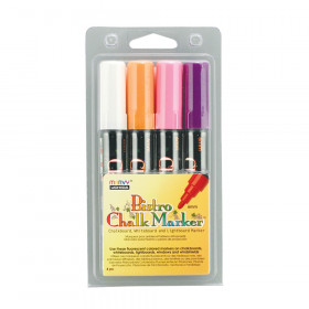 Broad Point Chalk Marker Set, Fluorescent White, Violet, Orange and Pink