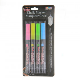 Bistro Chalk Markers, Extra Fine Tip 4-Color Set, Fluorescent Pink, Blue, Green, Yellow