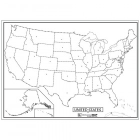 """Laminated US Outline Rolled Map, 40""""W x 28""""H"""