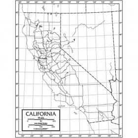 California Outline Map, Paper, Pack of 50