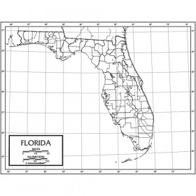 Outline Map Laminated Florida