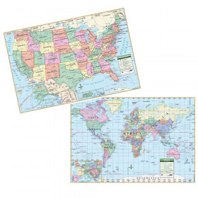 Us & World Politcal Rolled Map Set 40 X 28