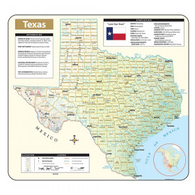 Shaded Relief Map Rolled Texas
