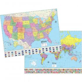 "U.S./World Advanced Political Rolled Laminated Map Set, 46"" x 36"", Set of 2"
