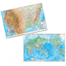 Us & World Adv Physical Map Set Rolled 48X36