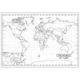 """Laminated World Outline Rolled Map, 40""""W x 28""""H"""