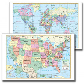 Laminated US/World Notebook Maps, Pack of 10