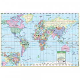Laminated World Notebook Maps with World Facts, Pack of 10