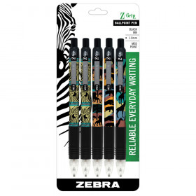 Z Grip Animals 5Pk Retractable Pens