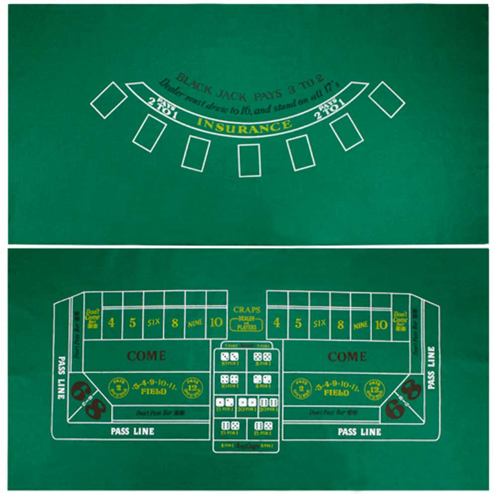 Blackjack and Roulette Table Felt 72x36