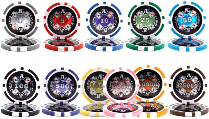 Ace Casino 14 Gram 1000pc Poker Chip Set w/Acrylic Case
