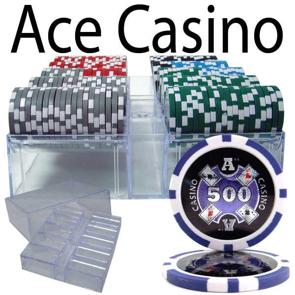 Ace Casino 14 Gram 200pc Poker Chip Set w/Acrylic Chip Tray