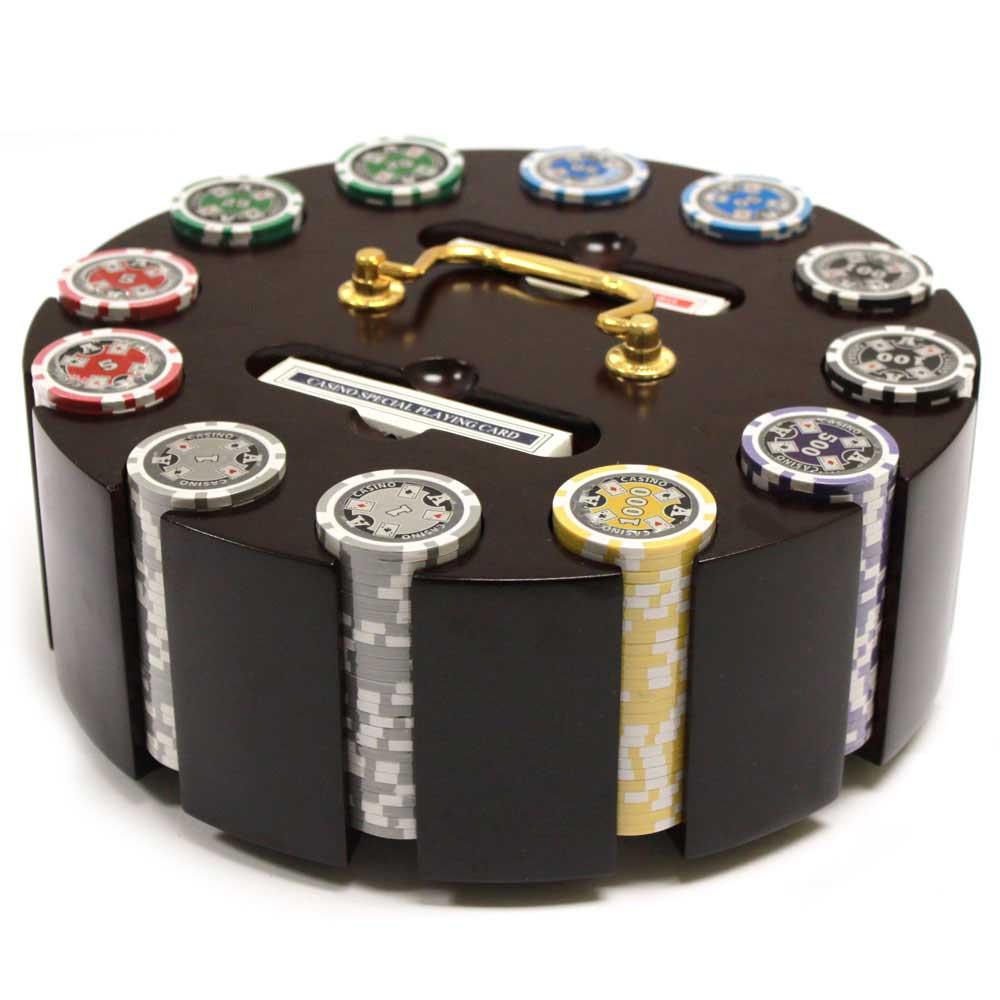 Ace Casino 300pc Poker Chip Set W Wooden Carousel Bb