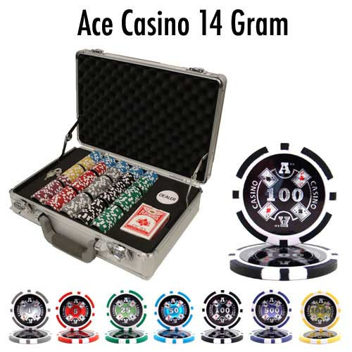 Ace Casino 14 Gram 300pc Poker Chip Set w/Claysmith Aluminum Case