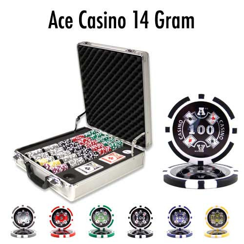 Ace Casino 14 Gram 500pc Poker Chip Set w/Claysmith Aluminum Case