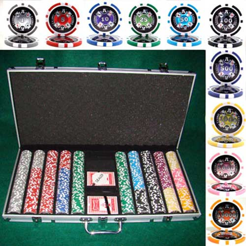 Ace Casino 14 Gram 750pc Poker Chip Set w/Aluminum Case