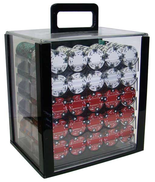 Ace King Suited 1000pc Poker Chip Set w/Acrylic Case