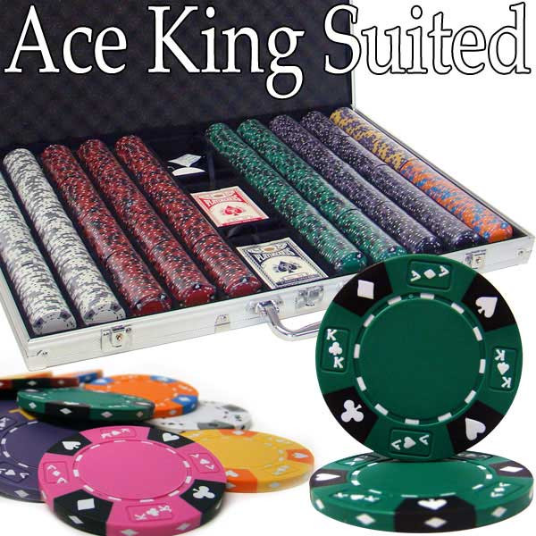 Ace King Suited 1000pc Poker Chip Set w/Aluminum Case