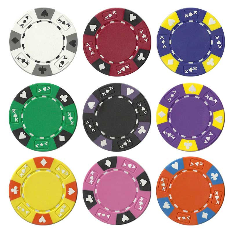 Ace King Suited 500pc Poker Chip Set w/Black Aluminum Case