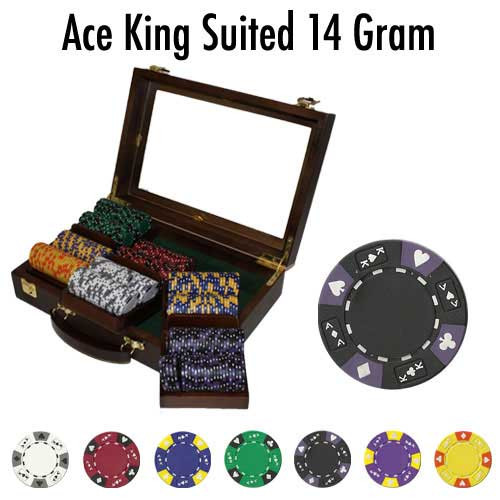 Ace King Suited 300pc Poker Chip Set w/Walnut Case