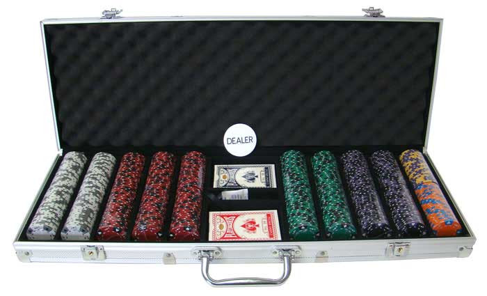 Ace King Suited 500pc Poker Chip Set w/Aluminum Case