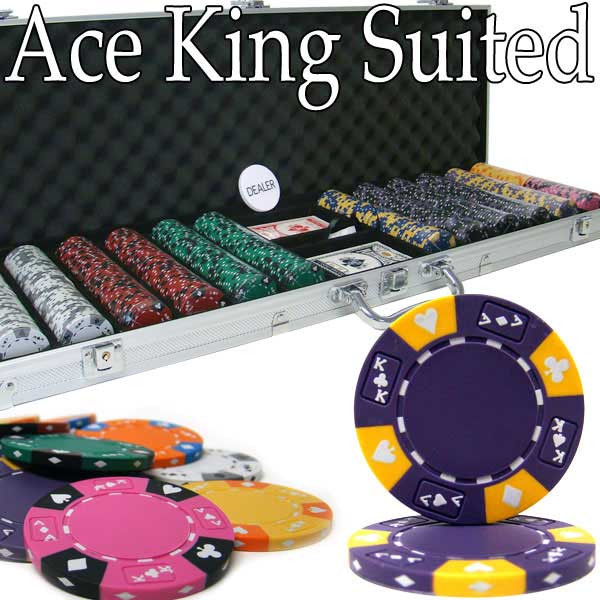 Ace King Suited 600pc Poker Chip Set w/Aluminum Case