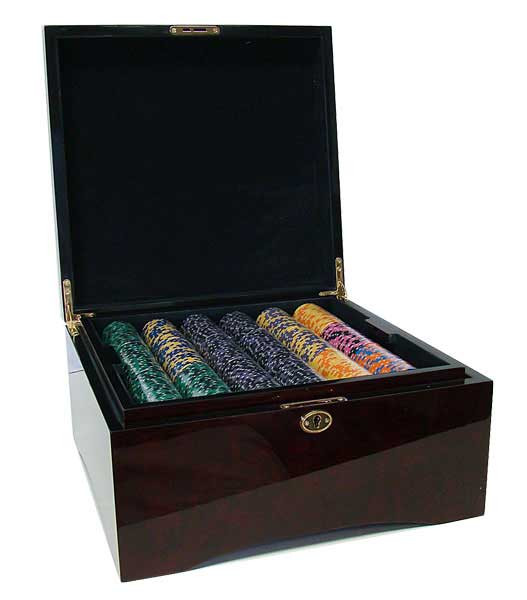 Ace King Suited 750pc Poker Chip Set w/Mahogany Case