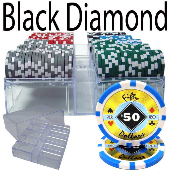 Black Diamond 14 Gram 200pc Poker Chip Set w/Acrylic Tray
