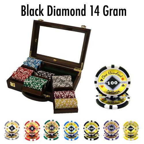 Black Diamond 14 Gram 300pc Poker Chip Set w/Walnut Casel