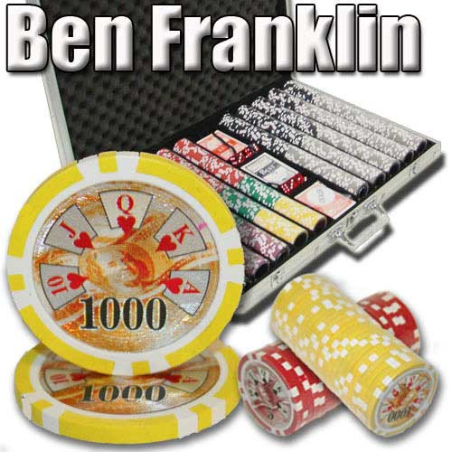 Ben Franklin 14 Gram 1000pc Poker Chip Set wAluminum Case