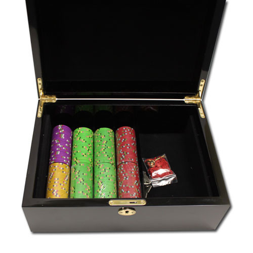 Gold Rush 500pc Poker Chip Set w/Mahogany Case