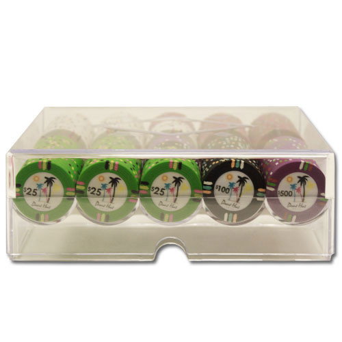 Desert Heat 200pc Poker Chip Set w/Acrylic Tray