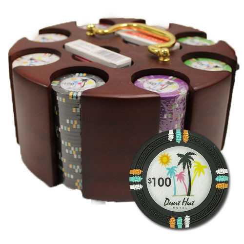 Desert Heat 200pc Poker Chip Set w/Wooden Carousel