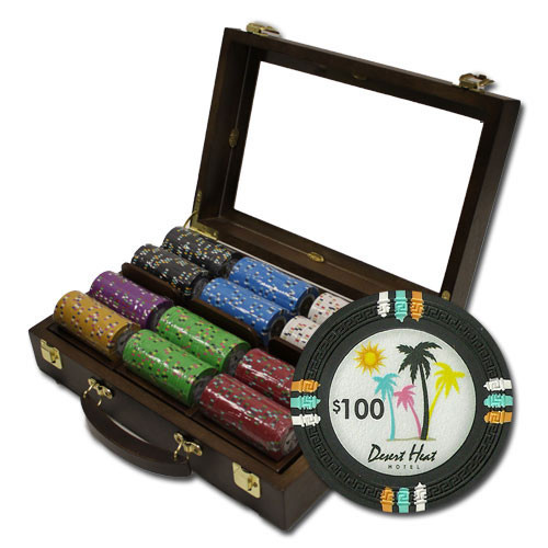 Desert Heat 300pc Poker Chip Set w/Walnut Case