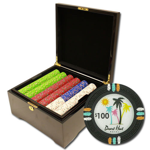 Desert Heat 750pc Poker Chip Set w/Mahogany Case