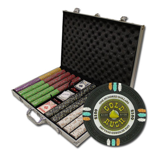 Gold Rush 1000pc Poker Chip Set w/Aluminum Case