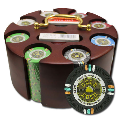 Gold Rush 200pc Poker Chip Set w/Wooden Carousel