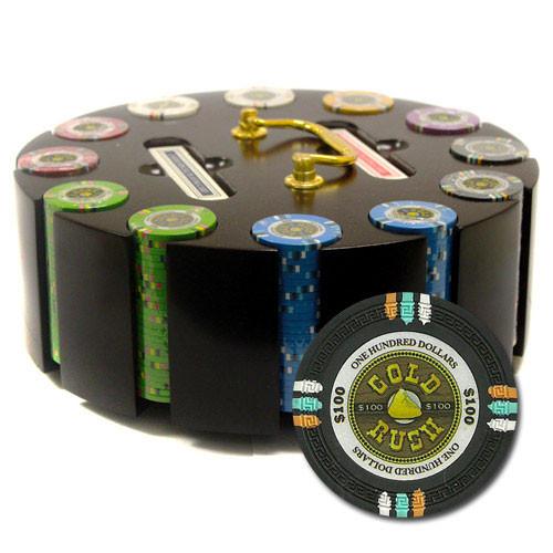 Gold Rush 300pc Poker Chip Set w/Wooden Carousel