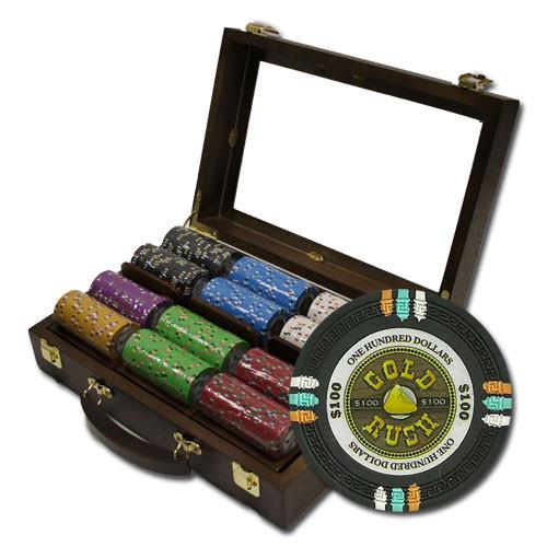 Gold Rush 300pc Poker Chip Set w/Walnut Case