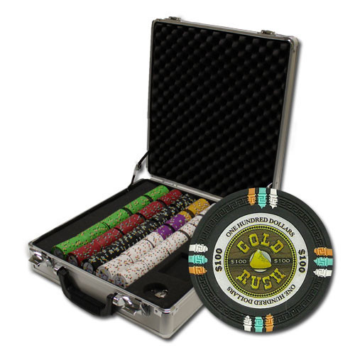 Gold Rush 500pc Poker Chip Set w/Claysmith Aluminum Case