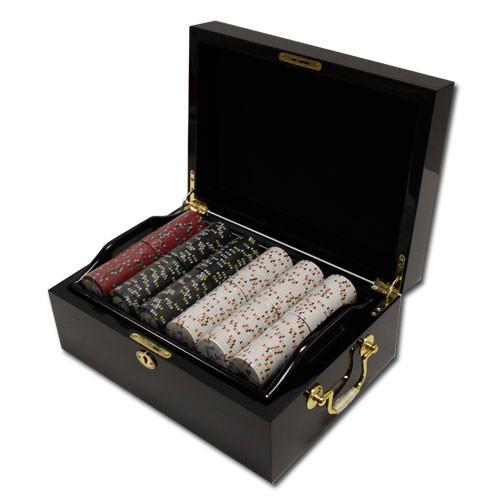 Gold Rush 500pc Poker Chip Set w/Mahogany Case