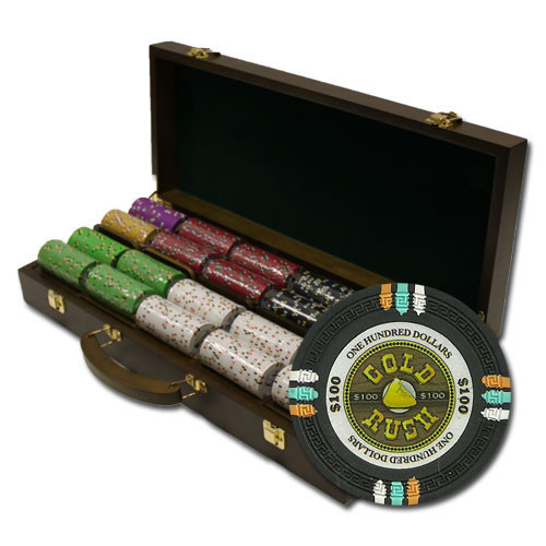 Gold Rush 500pc Poker Chip Set w/Walnut Case
