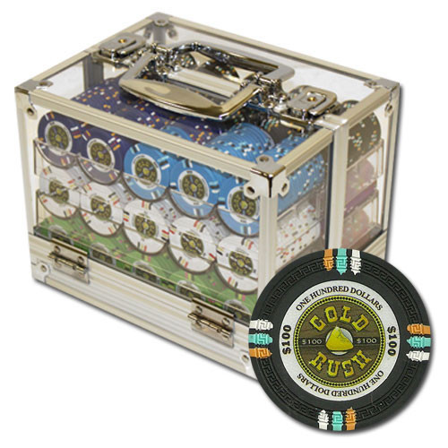 Gold Rush 600pc Poker Chip Set w/Acrylic Case