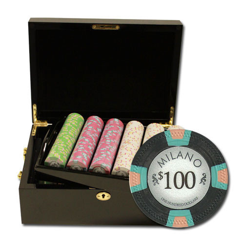 Claysmith Milano 500pc Poker Chip Set w/Mahogany Case