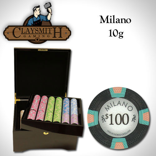 Claysmith Milano 750pc Poker Chip Set w/Mahogany Case
