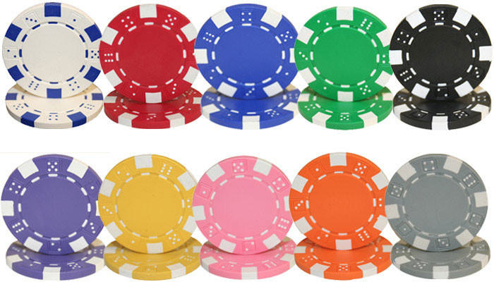 Striped Dice 1000pc Poker Chip Set w/Acrylic Case